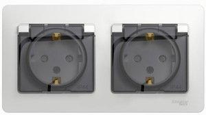 Фото Schneider Electric Glossa GSL000147 Розетка двойная с заземляющим контактом и шторками (16 А, IP44, крышка, в сборе, скрытая установка, белая)