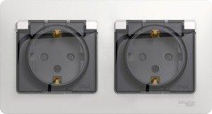 Фото Schneider Electric Glossa GSL000647 Розетка двойная с заземляющим контактом и шторками (16 А, IP44, крышка, в сборе, скрытая установка, перламутровая)