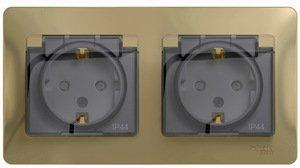 Фото Schneider Electric Glossa GSL000447 Розетка двойная с заземляющим контактом и шторками (16 А, IP44, крышка, в сборе, скрытая установка, титан)