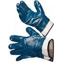 Перчатки х/б с полным нитриловым покрытием (усиленные, манжет - крага с разрезом, синие)