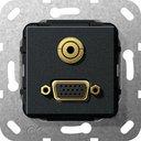 Gira System55 565910 Розетка информационная (VGA+Audio, под рамку, скрытая установка, черная матовая)