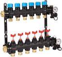 """HENCO UFH-0605MDK07 Композитный коллектор (1"""" ВР, 7 x 3/4"""" НР, регулируемые расходомеры, термометры, клапан слива, воздухоотводчики, PVDF)"""